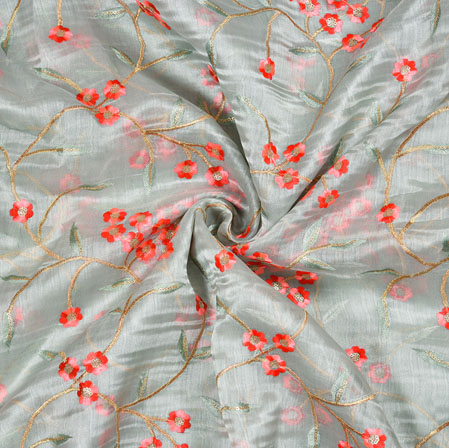 Gray Red Flower Organza Embroidery Fabric-22247