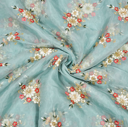 Gray Red Flower Organza Embroidery Fabric-22254