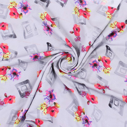 Gray Red Flower Rayon Fabric-15080