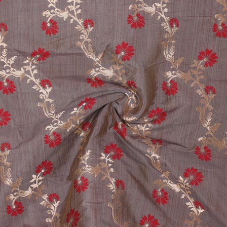 Gray Red and Golden Floral Banarasi Silk Fabric-9316