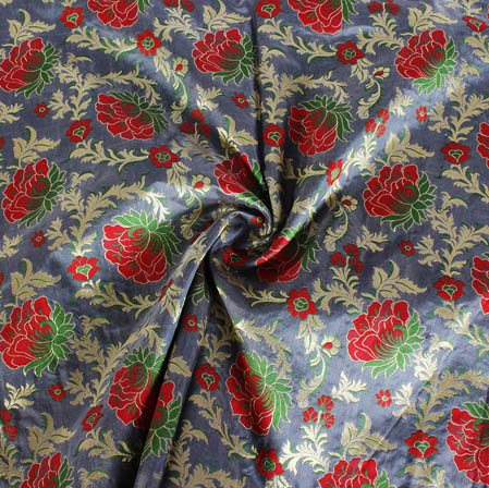 Gray Red and Golden Floral Banarasi Silk Fabric-9407
