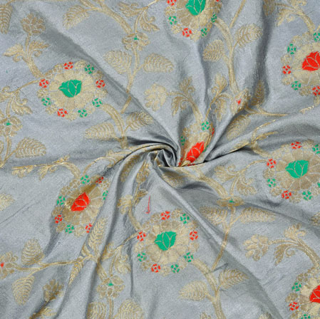 Gray Red and Golden Floral Satin Brocade Silk Fabric-12689