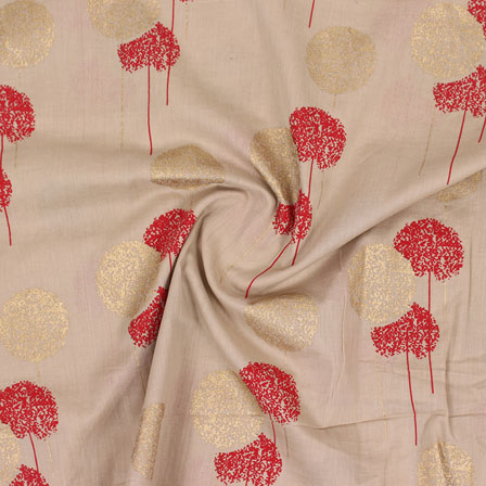 Gray Red and Golden Foil Print Cotton Fabric-15127
