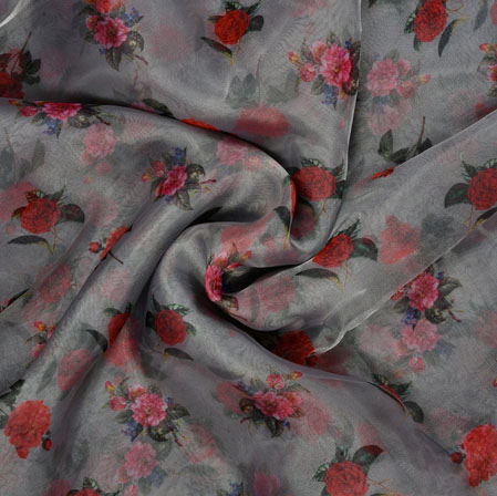 Gray Red and Green Floral Organza Silk Fabric-22124