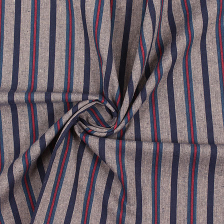 Gray Red and Green Stripe Handloom Khadi Cotton Fabric-40484