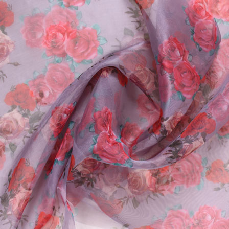 Gray Red and Pink Digital Organza Silk Fabric-51530