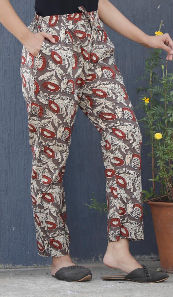 Gray Red and White Kalamkari Block Print Cotton Pant-34097
