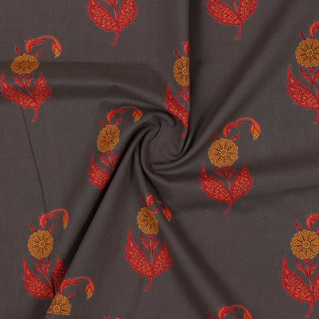 Gray Red and Yellow Block Print Rayon Fabric-14904