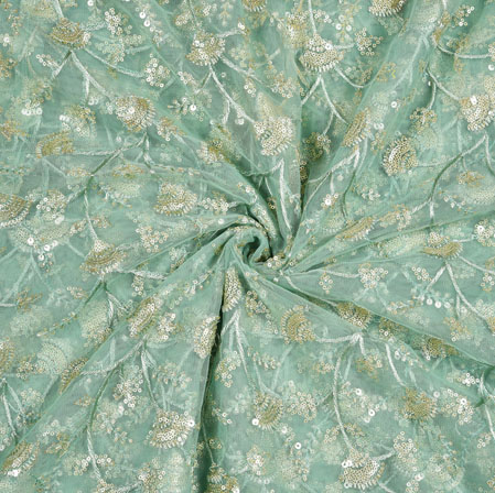 Gray Silver Floral Net Embroidery Fabric-19275