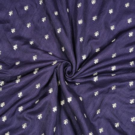 Gray Silver Floral Polka Zari Taffeta Silk Fabric-12648