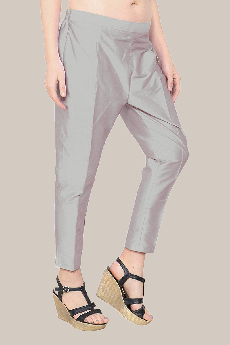 Gray Taffeta Silk Ankle Length Pant-33970