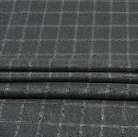 Gray White Check Wool Fabric-90120