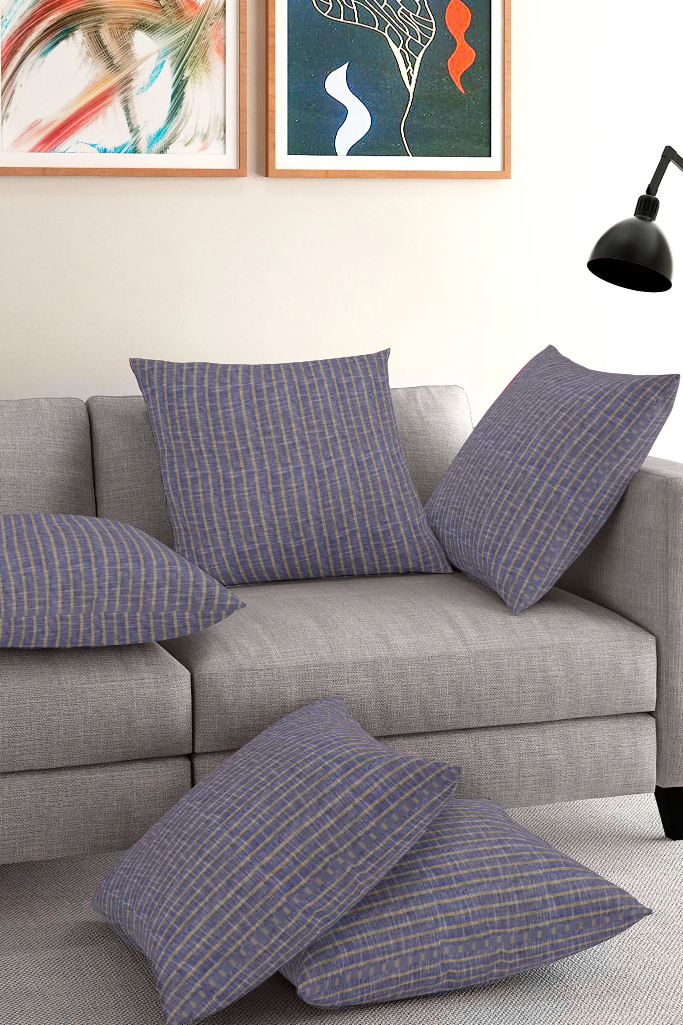 Set of 5-Gray White Cotton Cushion Cover-35374-16x16 Inches