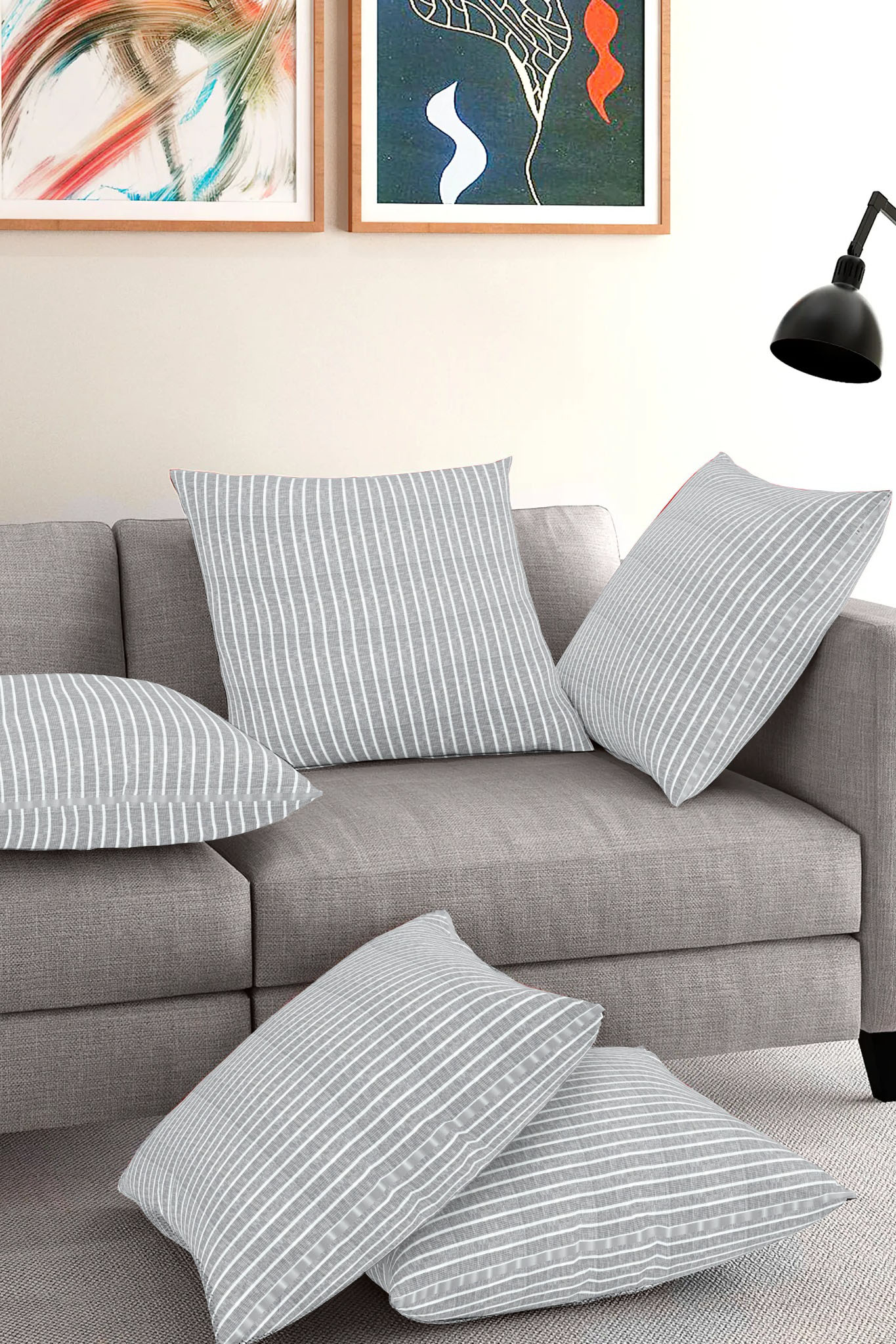 Set of 5-Gray White Cotton Cushion Cover-35392-16x16 Inches