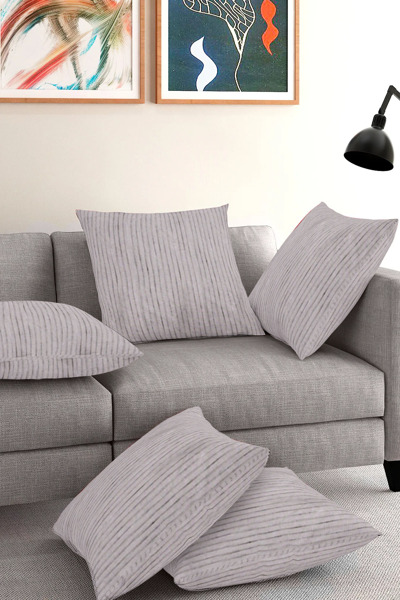Set of 5-Gray White Cotton Cushion Cover-35400-16x16 Inches