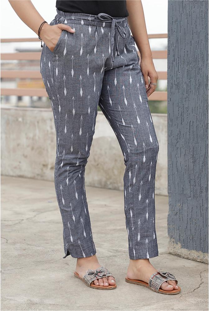Gray White Cotton Ikat zig zag Narrow Pant-33867