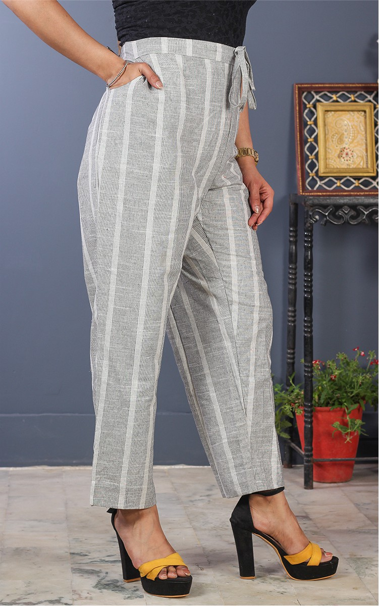 Gray White Cotton Stripe Pant-35199