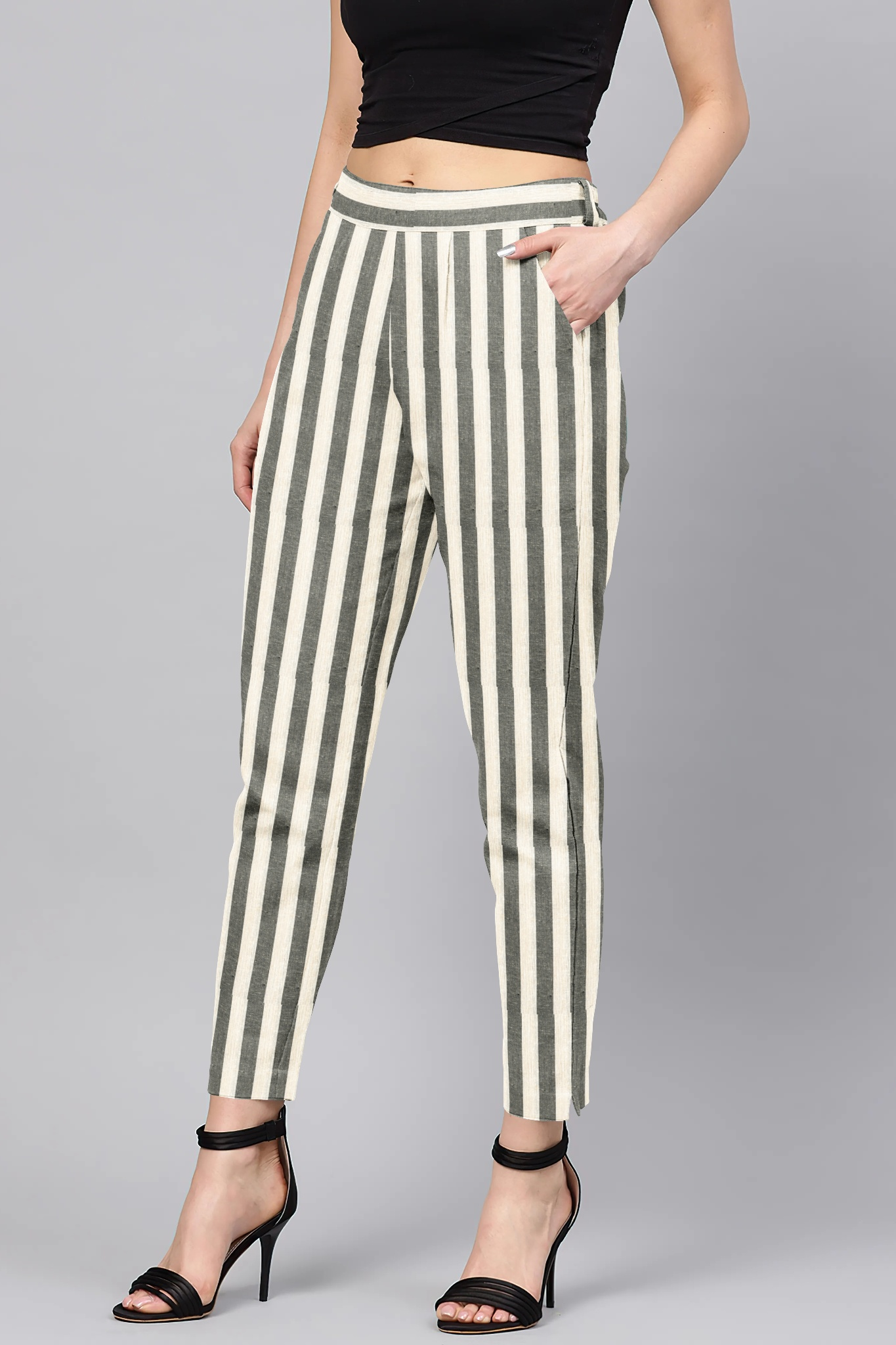 Gray White Cotton Stripe Regular Fit Solid Trouser-36086