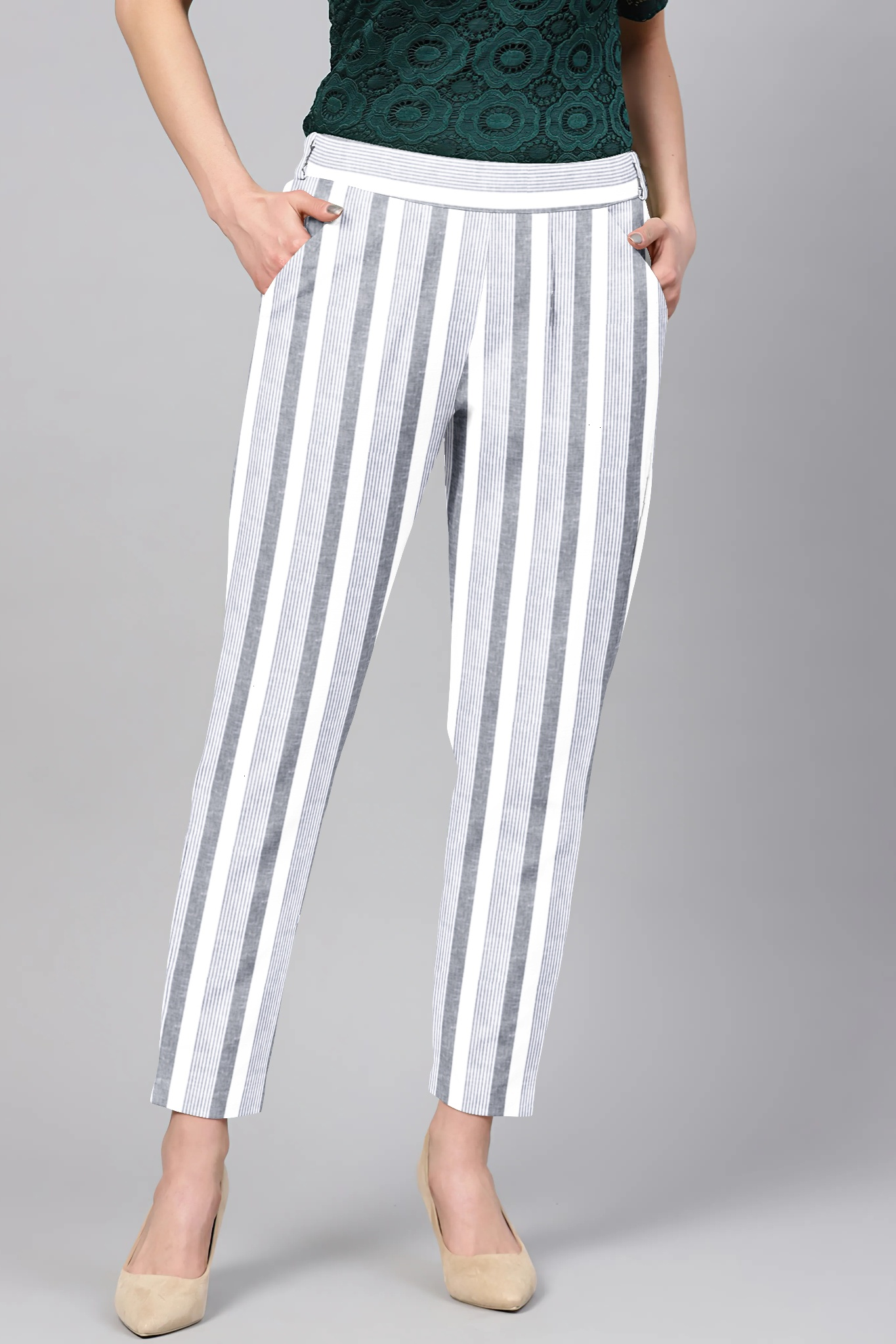 Gray White Cotton Stripe Regular Fit Solid Trouser-36088