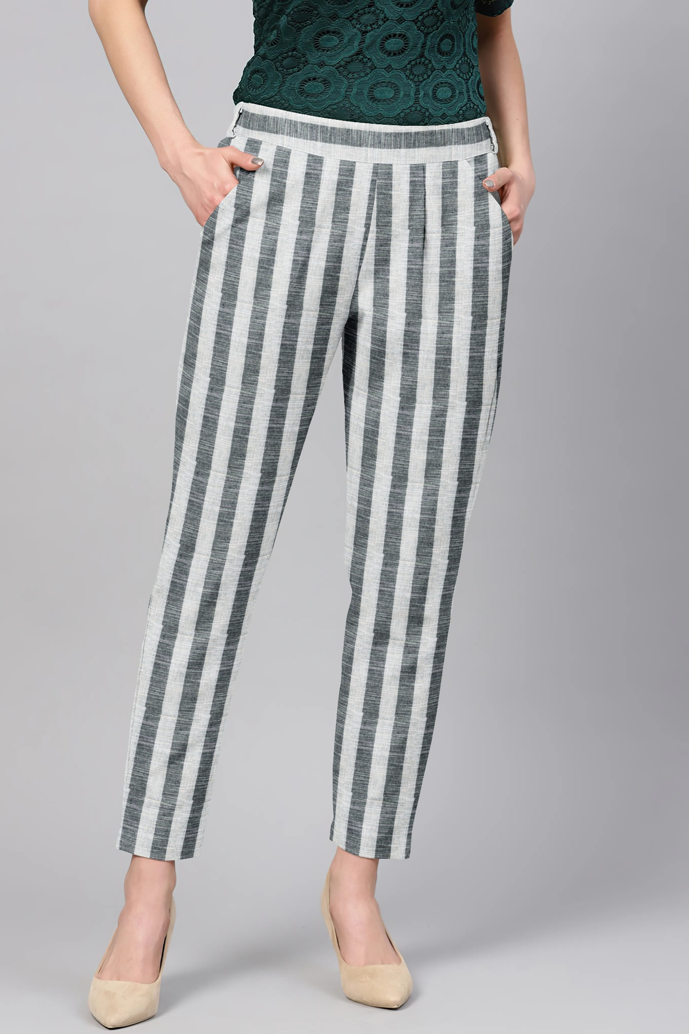 Gray White Cotton Stripe Regular Fit Solid Trouser-36105