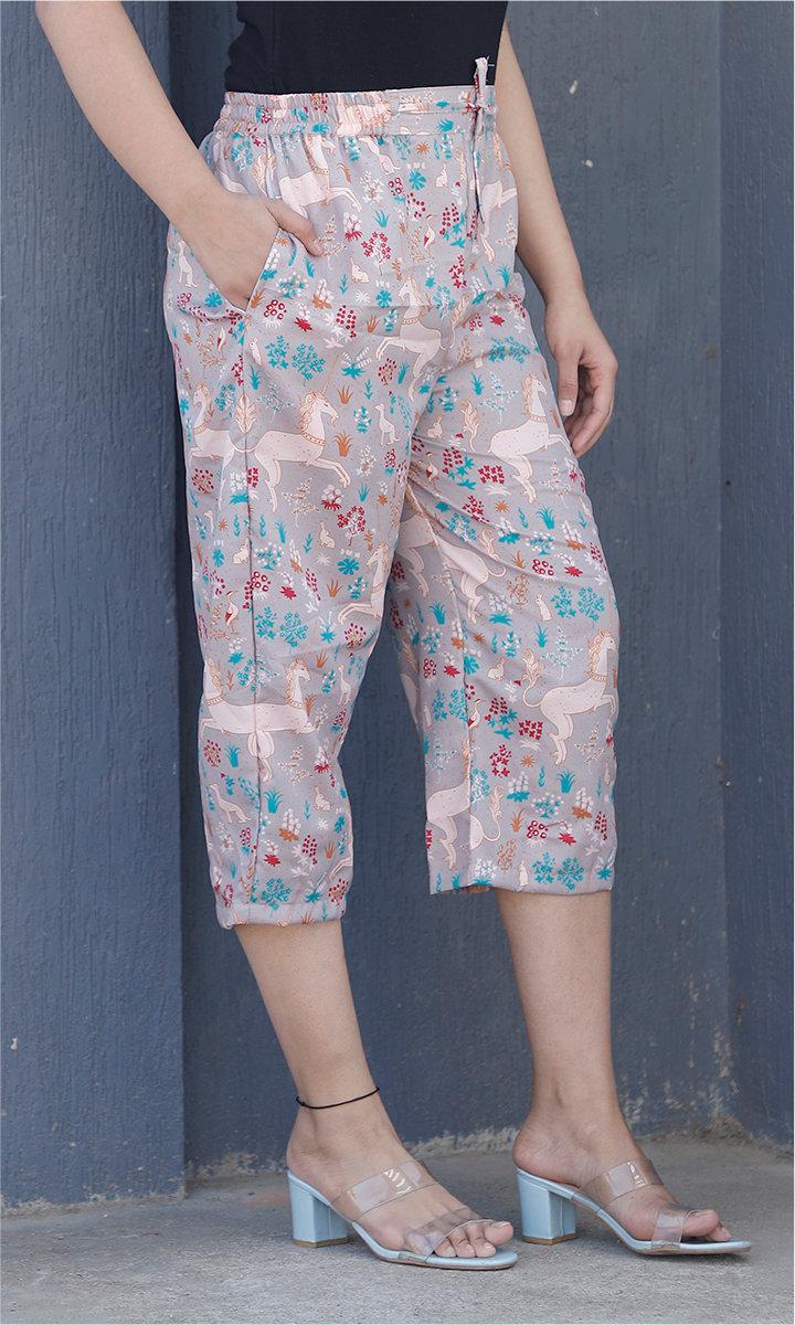 Gray White Crepe Silk Women culottes-34437