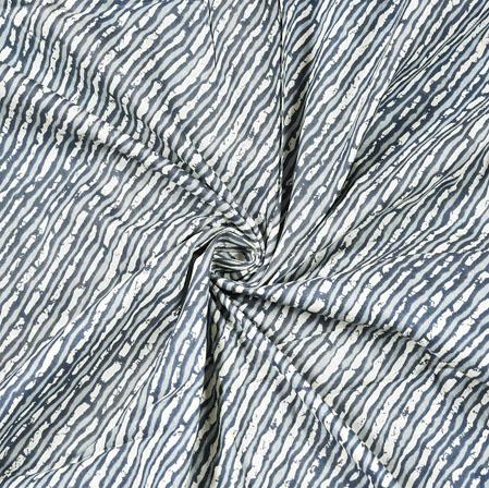 Gray White Floral Block Print Cotton Fabric-28529