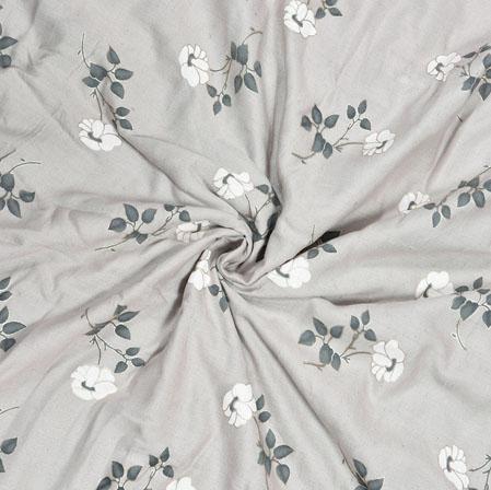 Gray White Floral Cotton Flex Fabric-28175