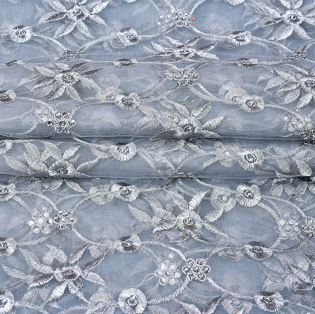 Gray White Floral Net Embroidery Fabric-19256
