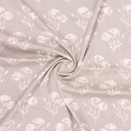 Gray White Floral Print Rayon Fabric-15269