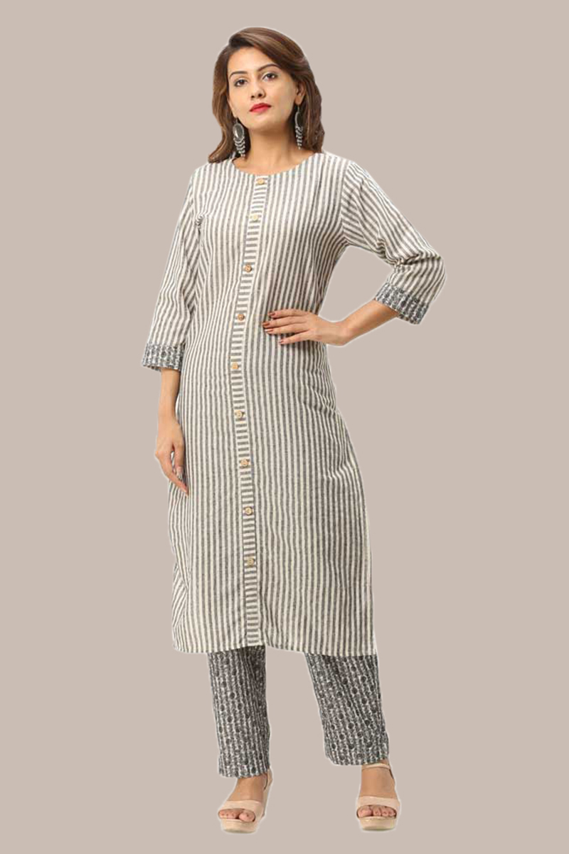 Kurta Pant Set-Gray White Handloom Cotton Kurta Stripe Pant Set-33730
