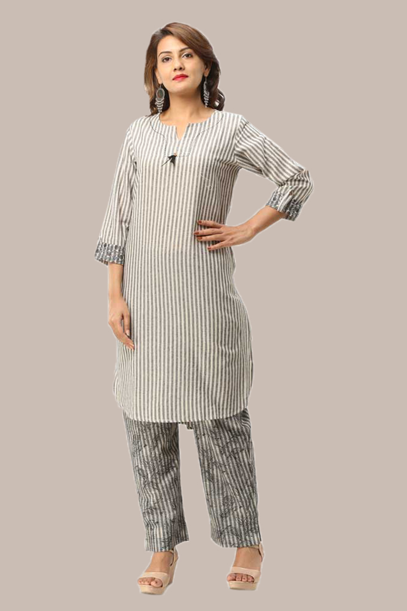 Kurta Pant Set-Gray White Handloom Cotton Kurta Stripe Pant Set-33737