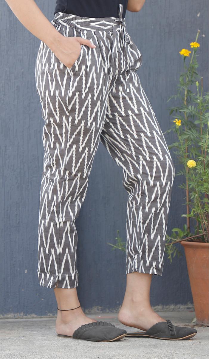 Gray White Ikat Block Print Cotton Pant-34076