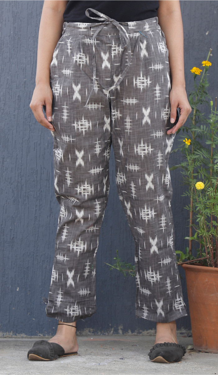 Gray White Ikat Block Print Cotton Pant-34105