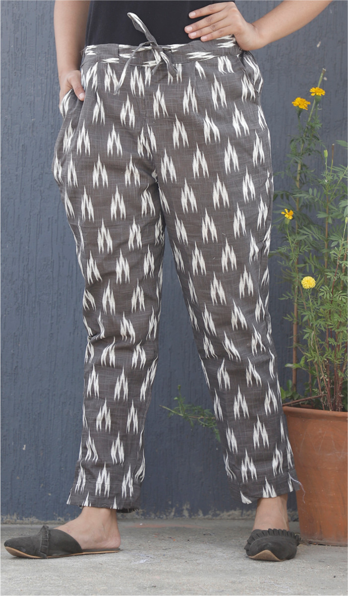 Gray White Ikat Block Print Cotton Pant-34109