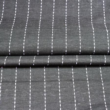 Gray White Stripe Cotton Fabric-42374