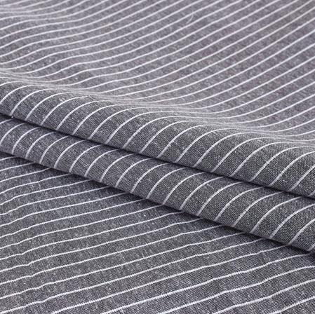 Gray White Stripe Handloom Cotton Fabric-40888