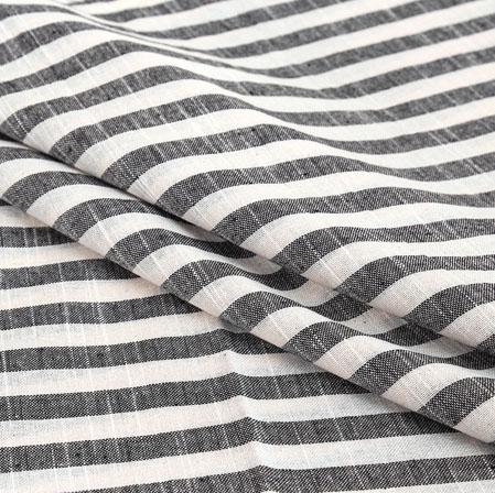 Gray White Stripe Handloom Cotton Fabric-40894