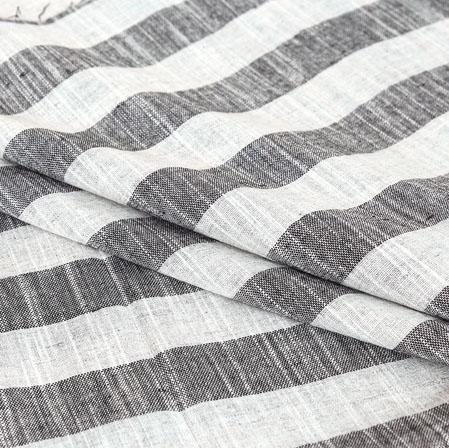 Gray White Stripe Handloom Cotton Fabric-40897