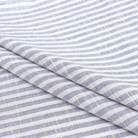 Gray White Stripe Handloom Cotton Fabric-40913