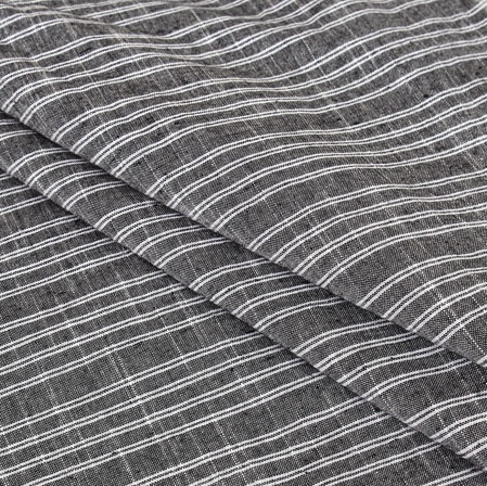 Cotton Shirt (2.25 Meter)-Gray White Stripe-40978