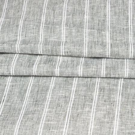 Gray White Stripe Handloom Cotton Fabric-42502