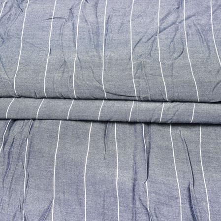 Gray White Stripe Handloom Cotton Fabric-42528