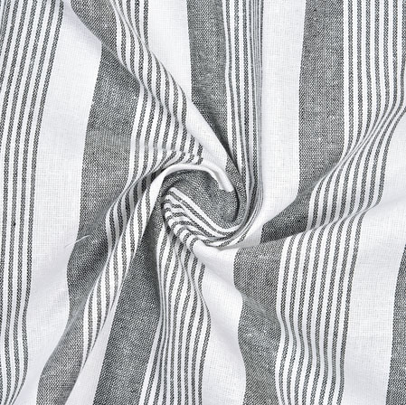 Gray White Striped Handloom Cotton Fabric-40802