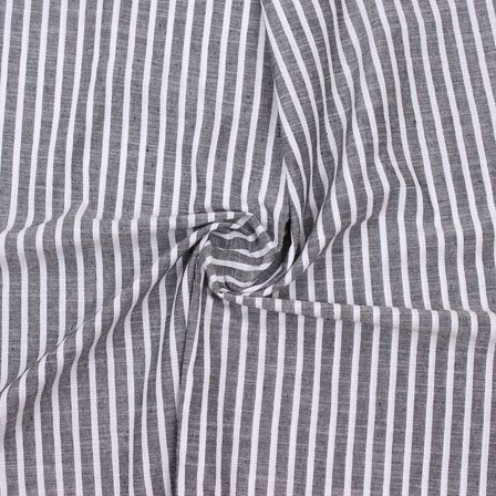 Gray White Striped Handloom Cotton Fabric-40748