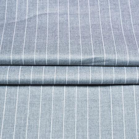 Gray White Stripe Wool Fabric-90189