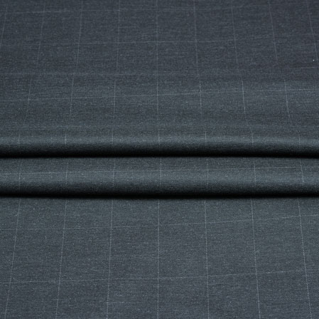 Gray White Checks Wool Fabric-90240