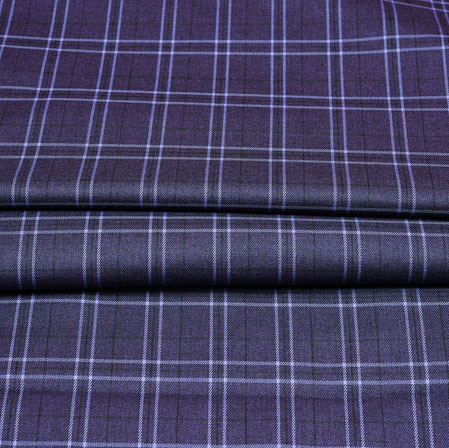 Gray White Checks Wool Fabric-90247