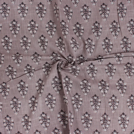 Gray-White and Black Floral Pattern Block Print Cotton Slub Fabric-14334