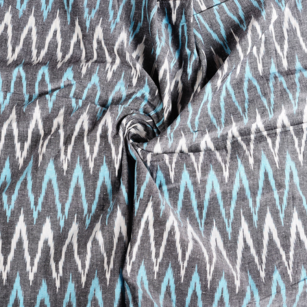 Gray-White and Blue Zig Zag Cotton Ikat Fabric-12163
