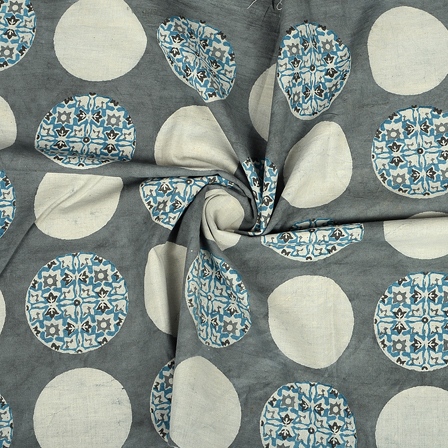 Gray-White and Blue Circular Design Cotton Block Print Fabric-14355